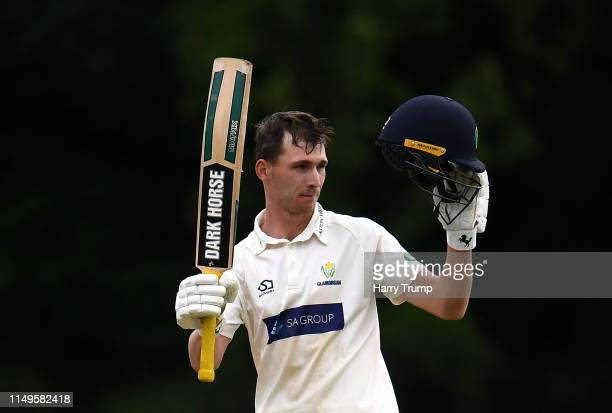 Nick Selman of Glamorgan celebrates after scoring a century during Day Three of the Specsavers County Championship Division Two match between...