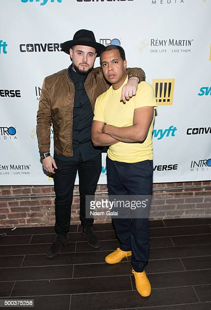 Nick Semkiw and Johnny Nunez attend the Ty Hunter Emoji app launch on December 7 2015 in New York City