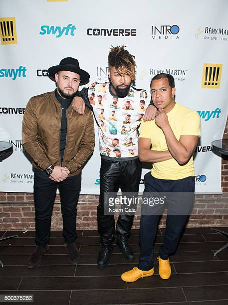 Nick Semkiw Ty Hunter and Johnny Nunez attend the Ty Hunter Emoji app launch on December 7 2015 in New York City