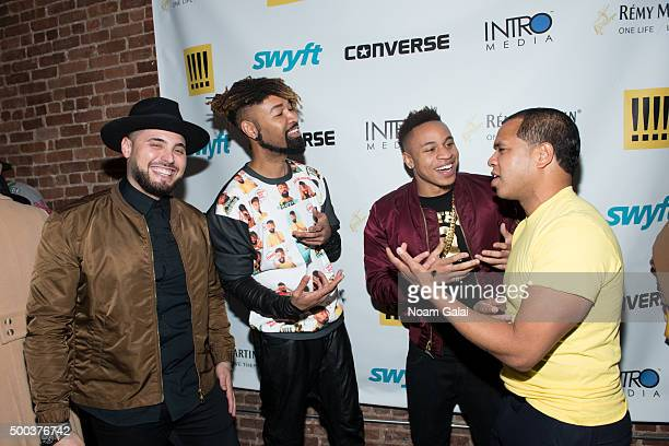 Nick Semkiw Ty Hunter Rotimi and Johnny Nunez attend the Ty Hunter Emoji app launch on December 7 2015 in New York City