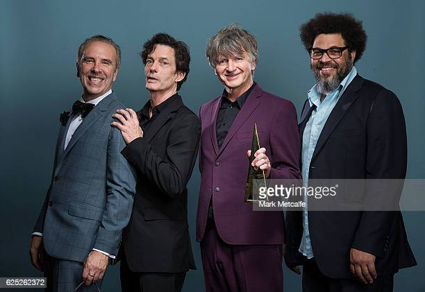 Nick Seymour Mark Hart Neil Finn and Matt Sherrod of Crowded House pose for a portrait after being inducted into the ARIA Hall of Fame during the...
