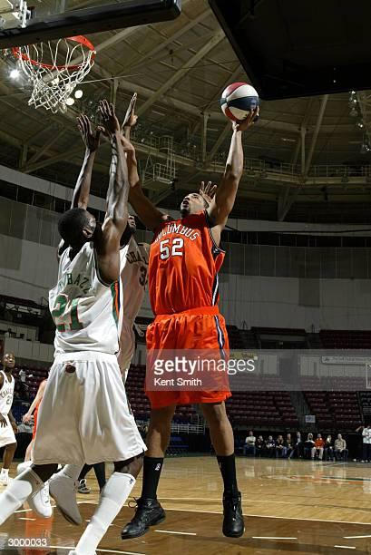 Nick Sheppard of Columbus RiverDragons shoots against Karim Shabazz of the Charleston Lowgators at the North Charleston Civic Center February 20,...