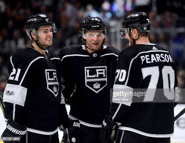 Nick Shore Tyler Toffoli and Tanner Pearson of the Los Angeles Kings laugh during the third period in a 51 win over the Montreal Canadiens at Staples...