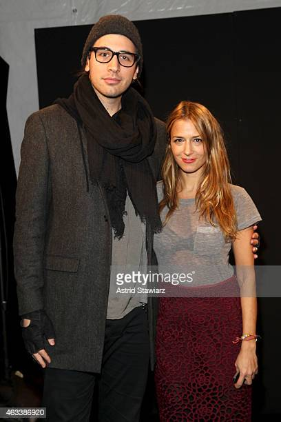 Nick Simmons and designer Charlotte Ronson pose backstage at the Charlotte Ronson fashion show during Mercedes-Benz Fashion Week Fall 2015 at The...