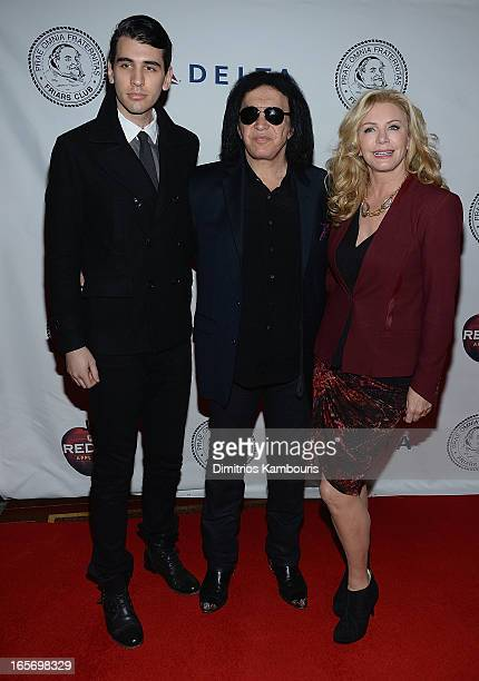 Nick Simmons Gene Simmons and Shannon Tweed attend The Friars Club Roast Honors Jack Black at New York Hilton and Towers on April 5 2013 in New York...