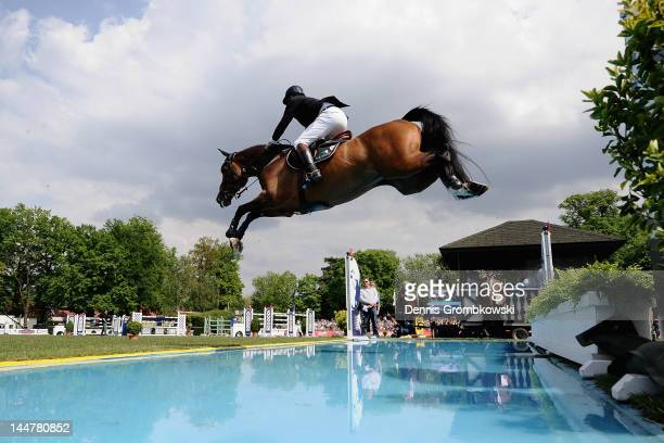 Nick Skelton of Great Britain and Big Star compete in the CSI5 Global Champions Tour Grand Prix of Hamburg during day three of the German Jumping...