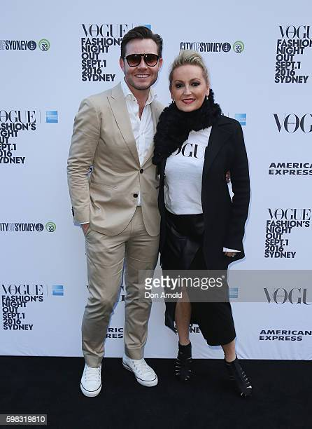 Nick Smith and Melissa Hoyer pose during Vogue American Express Fashion's Night Out on September 1 2016 in Sydney Australia