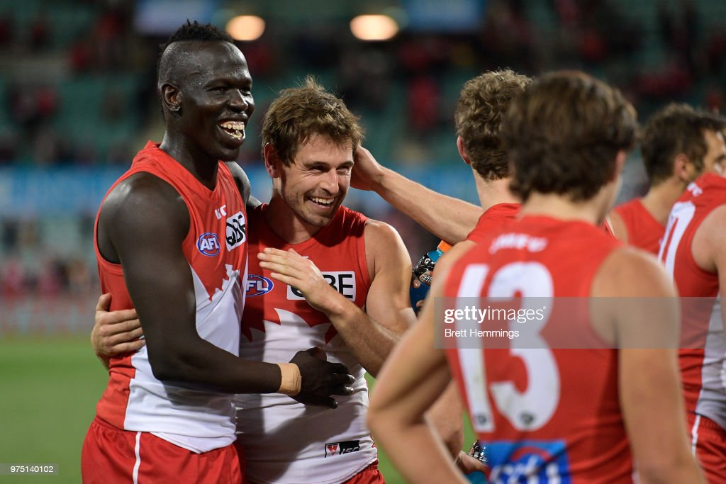 Nick Smith of the Swans and Aliir Aliir of the Swans celebrate victory during the round 13 AFL match between the Sydney Swans and the West Coast Eagles at Sydney Cricket Ground on June 15, 2018 in Sydney, Australia.