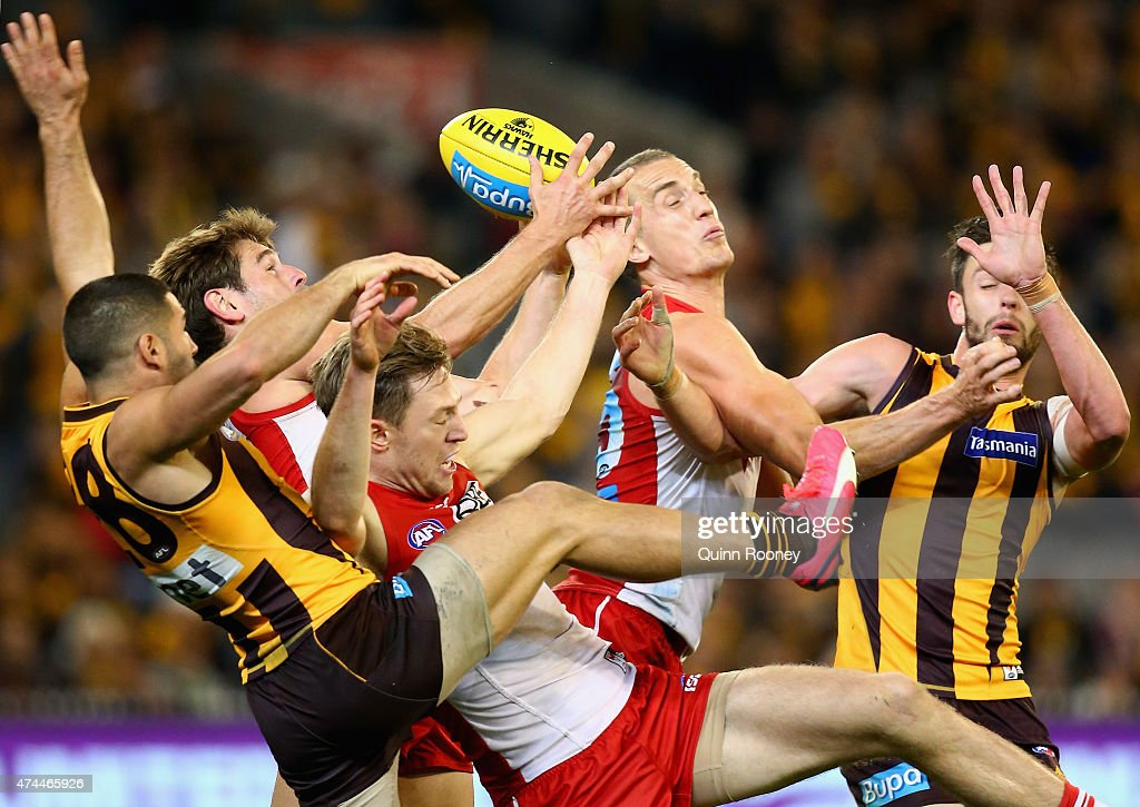 Nick Smith of the Swans takes a pack mark during the round eight AFL match between the Hawthorn Hawks and the Sydney Swans at Melbourne Cricket Ground on May 23, 2015 in Melbourne, Australia.