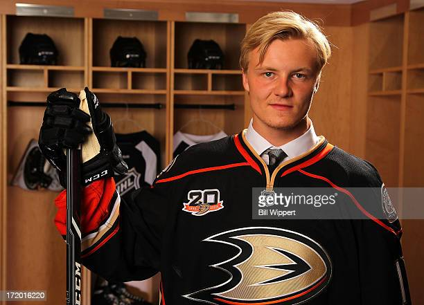 Nick Sorensen 45th overall pick by the Anaheim Ducks poses for a portrait during the 2013 NHL Draft at Prudential Center on June 30 2013 in Newark...
