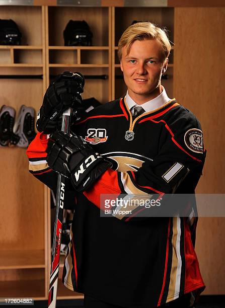 Nick Sorensen 45th pick overall by the Anaheim Ducks poses for a portrait during the 2013 NHL Draft at Prudential Center on June 30 2013 in Newark...