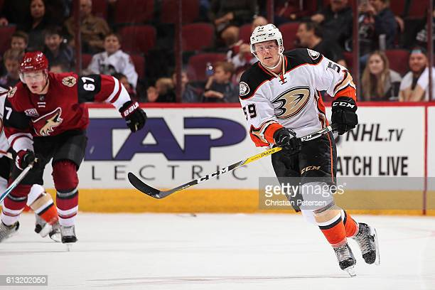 Nick Sorensen of the Anaheim Ducks in action during the preseason NHL game against Arizona Coyotes at Gila River Arena on October 1 2016 in Glendale...