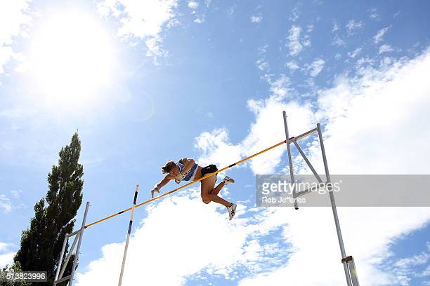 Nick Southgate of Auckland competes in the Mens Pole Vault during the 2016 National Track Field Championships on March 5 2016 in Dunedin New Zealand