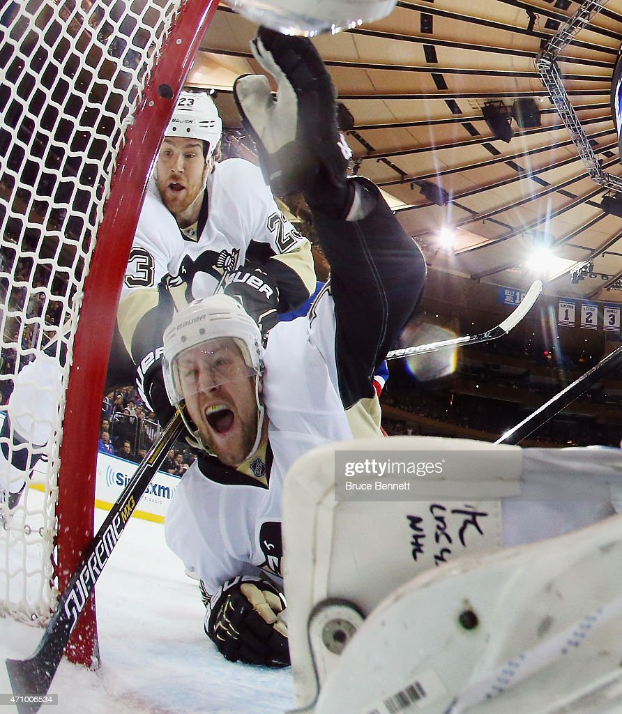 Nick Spaling #13 of the Pittsburgh Penguins celebrates his goal at 17:23 of the second period against Henrik Lundqvist #30 of the New York Rangers in Game Five of the Eastern Conference Quarterfinals during the 2015 NHL Stanley Cup Playoffs at Madison Square Garden on April 24, 2015 in New York City.