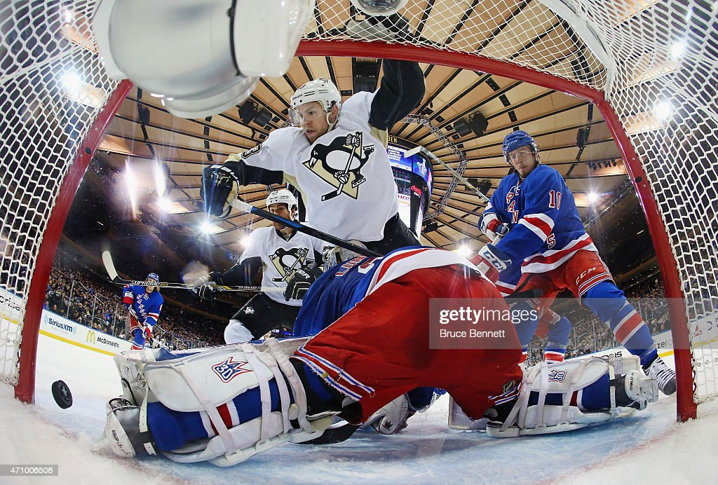 Nick Spaling #13 of the Pittsburgh Penguins scores at 17:23 of the second period against Henrik Lundqvist #30 of the New York Rangers in Game Five of the Eastern Conference Quarterfinals during the 2015 NHL Stanley Cup Playoffs at Madison Square Garden on April 24, 2015 in New York City.