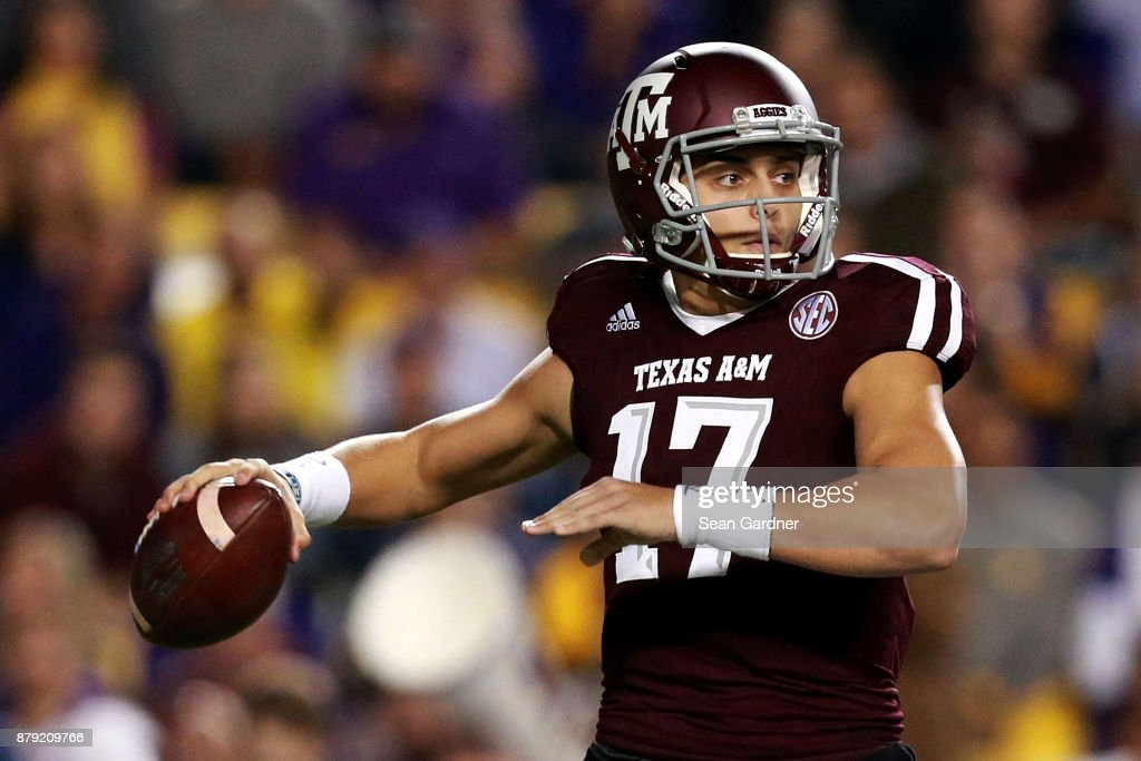 Nick Starkel #17 of the Texas A&M Aggies looks to pass during the first half against the LSU Tigers at Tiger Stadium on November 25, 2017 in Baton Rouge, Louisiana.