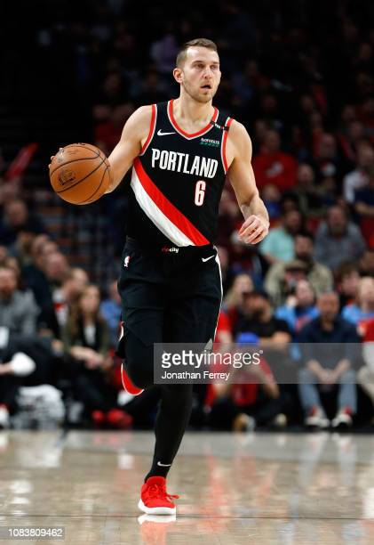 Nick Stauskas of the Portland Trail Blazers in action against the Los Angeles Clippers at Moda Center on November 25 2018 in Portland OregonNOTE TO...