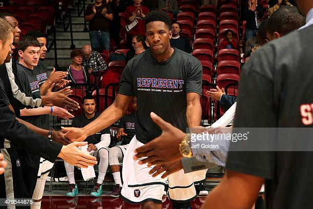 Nick Stover of the Loyola Marymount Lions is introduced before the game against the Pepperdine Waves at Gersten Pavilion on February 20 2014 in Los...