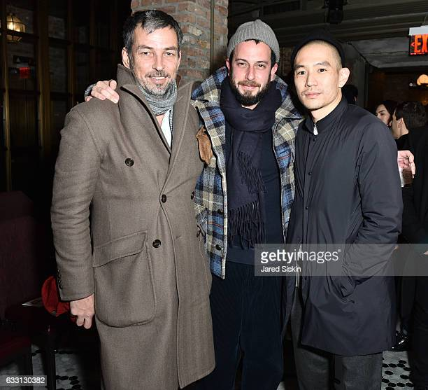 Nick Sullivan Josh Peskowitz and Eugene Tong attend Billy Reid Front Row NYFW Men's at The Cellar at The Beekman on January 30 2017 in New York City
