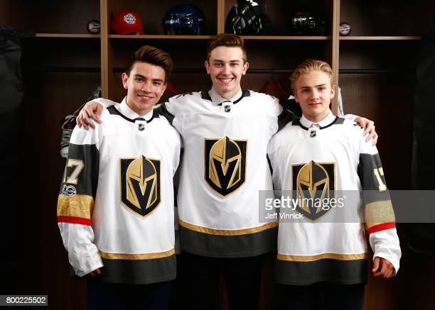 Nick Suzuki 13th overall pick Cody Glass sixth overall pick and Erik Brannstrom 15th overall pick of the Vegas Golden Knights pose for a portrait...