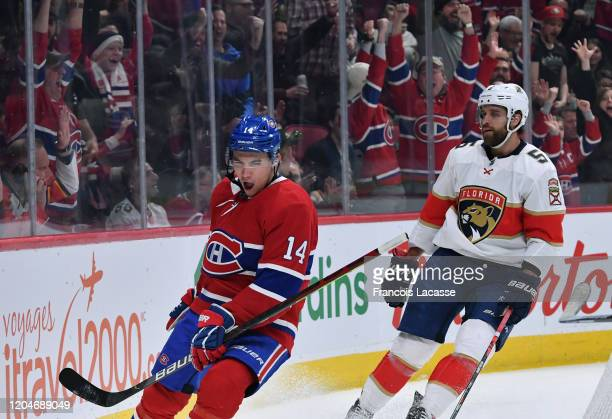 Nick Suzuki of the Montreal Canadiens celebrates after scoring a goal against the Florida Panthers in the NHL game at the Bell Centre on February 1...