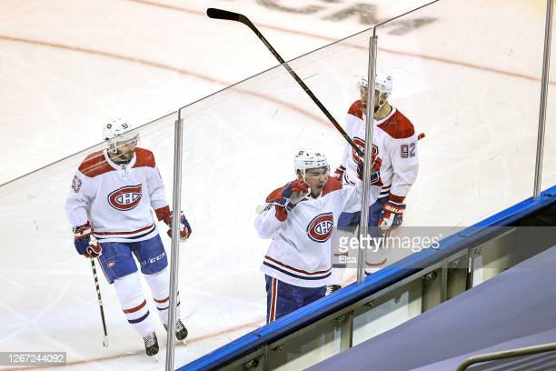 Nick Suzuki of the Montreal Canadiens celebrates after scoring a goal against the Philadelphia Flyers at 1059 during the third period in Game Five of...