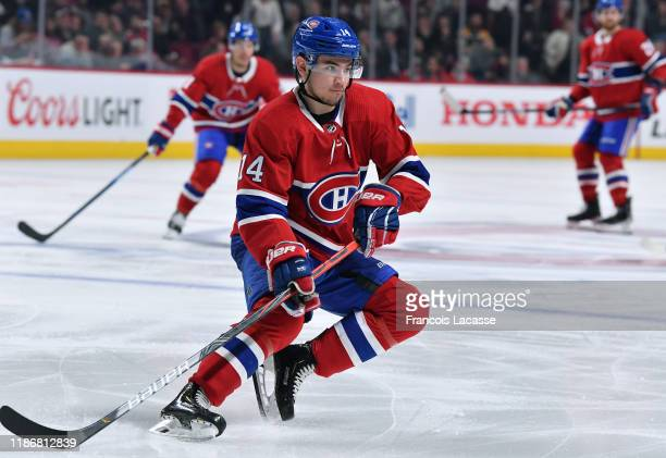 Nick Suzuki of the Montreal Canadiens skates against the Boston Bruins in the NHL game at the Bell Centre on November 5 2019 in Montreal Quebec Canada