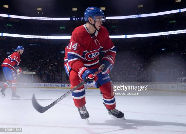 Nick Suzuki of the Montreal Canadiens skates against the Edmonton Oilers in the NHL game at the Bell Centre on January 9 2020 in Montreal Quebec...