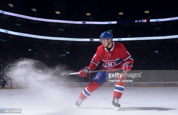 Nick Suzuki of the Montreal Canadiens skates against the New Jersey Devils in the NHL game at the Bell Centre on November 28 2019 in Montreal Quebec...
