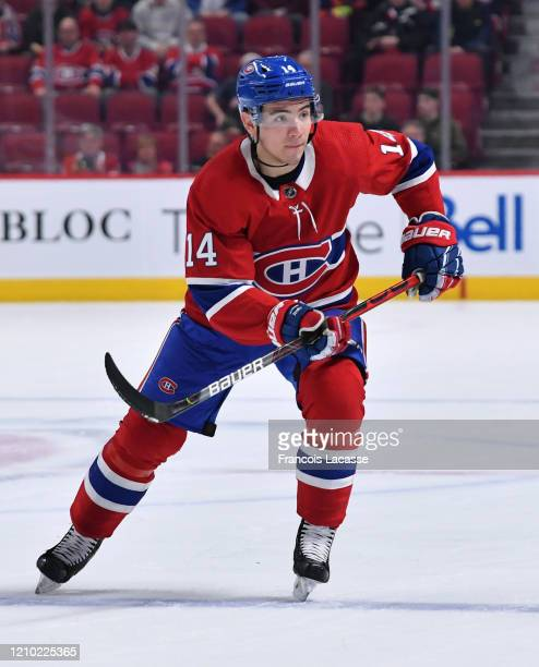 Nick Suzuki of the Montreal Canadiens skates against the New York Rangers in the NHL game at the Bell Centre on February 27 2020 in Montreal Quebec...