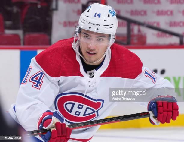 Nick Suzuki of the Montreal Canadiens skates against the Ottawa Senators at Canadian Tire Centre on February 23, 2021 in Ottawa, Ontario, Canada.