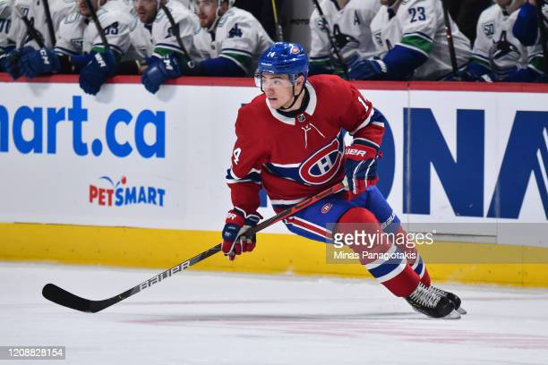 Nick Suzuki of the Montreal Canadiens skates against the Vancouver Canucks during the second period at the Bell Centre on February 25 2020 in...