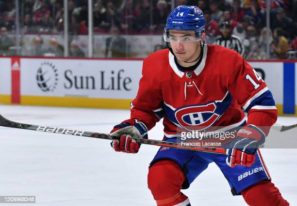 Nick Suzuki of the Montreal Canadiens skates against the Vancouver Canucks in the NHL game at the Bell Centre on February 25 2020 in Montreal Quebec...