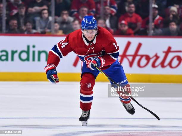 Nick Suzuki of the Montreal Canadiens skates against the Winnipeg Jets during the third period at the Bell Centre on January 6 2020 in Montreal...