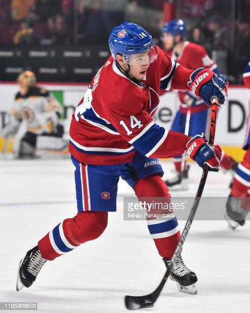 Nick Suzuki of the Montreal Canadiens takes a shot during the warmup prior to the game against the Boston Bruins at the Bell Centre on November 5...