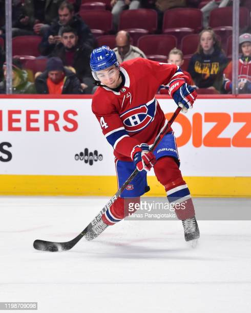 Nick Suzuki of the Montreal Canadiens takes a shot during the warmup against the Edmonton Oilers at the Bell Centre on January 9 2020 in Montreal...