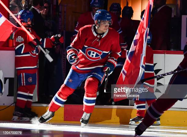 Nick Suzuki of the Montreal Canadiens takes to the ice prior the NHL game against the Columbus Blue Jackets at the Bell Centre on February 2 2020 in...