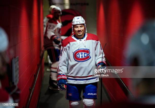 Nick Suzuki of the Montreal Canadiens walks in the hallway before Game One of the Eastern Conference First Round of the 2020 NHL Stanley Cup Playoff...