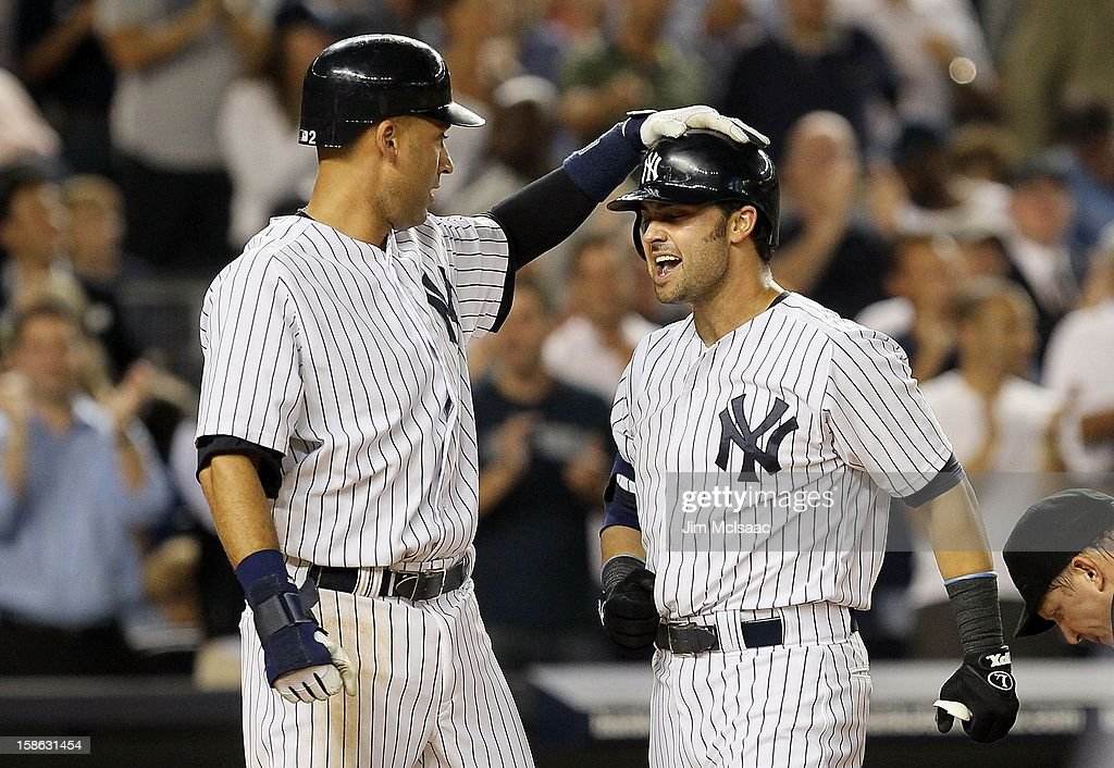 low priced ca415 8580b Nick Swisher and Derek Jeter of the New York Yankees in ...
