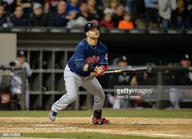 Nick Swisher of the Cleveland Indians bats during the fifth inning against the Chicago White Sox at US Cellular Field on April 11 2014 in Chicago...