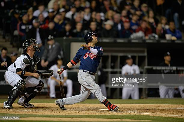 Nick Swisher of the Cleveland Indians bats during the sixth inning against the Chicago White Sox at US Cellular Field on April 11 2014 in Chicago...