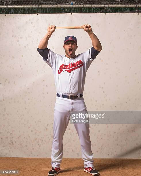 Nick Swisher of the Cleveland Indians poses for a portrait at Goodyear Ballpark on February 24 2014 in Goodyear Arizona