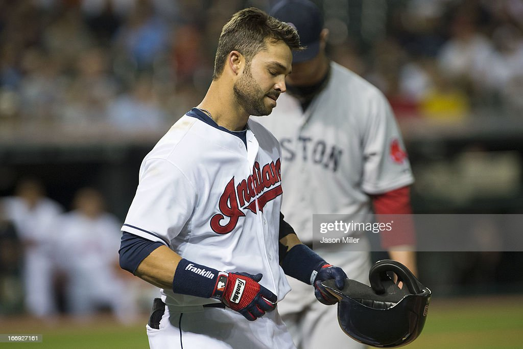 Nick Swisher #33 of the Cleveland Indians reacts after lining out to center field in the sixth inning against the Boston Red Sox at Progressive Field on April 18, 2013 in Cleveland, Ohio.
