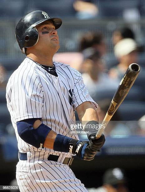 Nick Swisher of the New York Yankees bats against the Chicago White Sox on May 2 2010 at Yankee Stadium in the Bronx borough of New York City The...