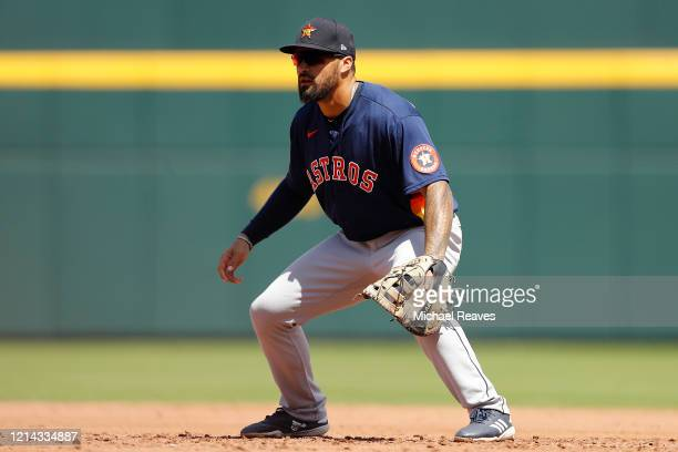 Nick Tanielu of the Houston Astros in action against the Atlanta Braves during a Grapefruit League spring training game at CoolToday Park on March 10...