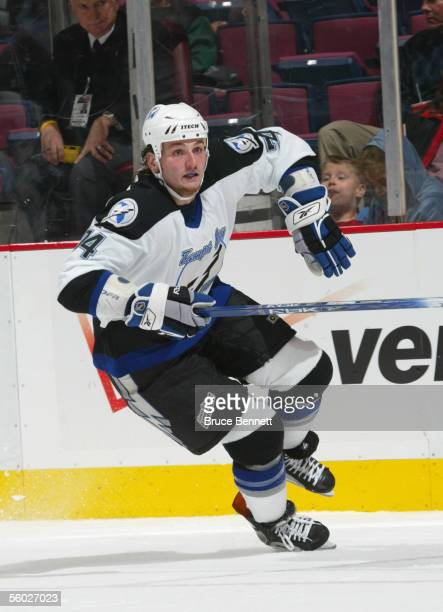 Nick Tarnasky of the Tampa Bay Lightning skates during a game against the New Jersey Devils at the Continental Airlines Arena on October 26, 2005 in...