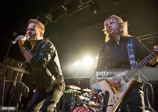 Nick Tart and Brian Tatler of Diamond Head perform on stage at Birmingham Academy on February 21 2010 in Birmingham England