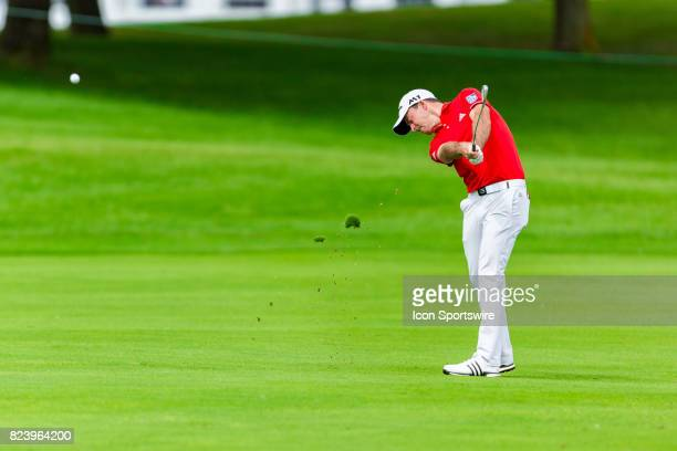 Nick Taylor hits a fairway shot during second round action of the RBC Canadian Open on July 28 at Glen Abbey Golf Club in Oakville ON Canada