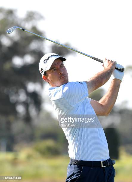Nick Taylor hits a tee shot on the third hole during the second round of The RSM Classic at Sea Island Resort Seaside Course on November 22 2019 in...