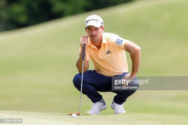 Nick Taylor lines up his birdie attempt on during the first round of the Charles Schwab Challenge on May 27, 2021 at Colonial Country Club in Fort...